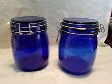 Set Of 2 Deep Rich Cobalt Blue Canisters 5 5/8u0027 Tall 3 5