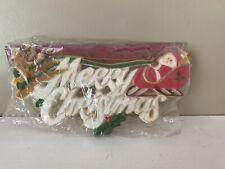 "Vintage Plastic ""Merry Christmas� Wall Hanging Plaque Santa Sleigh Reindeer"