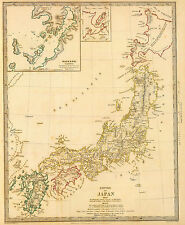 Poster - Vintage Map of Japan 1835 (Picture Oriental Japanese Samurai Geisha Art