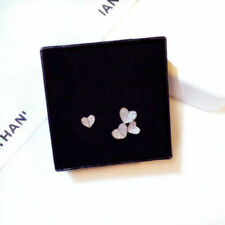 925 Silver Sterling made with Swarovski Element Crystals Heart Stud Earrings