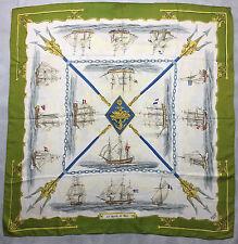 """Authentique foulard Hermès """" La Marine en Bois """" /  Hermès Scarf"""