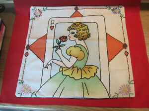 Vintage Vogart pillow cover tinted embroidered Art Deco Queen of Hearts Lady