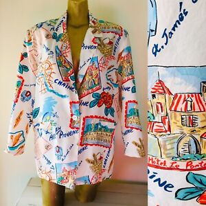 Chic Vintage 80's FRENCH RIVIERA Oversized Slouch Blazer Jacket Medium