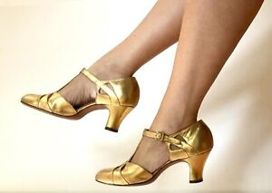 VTG Orig 1920s ~GOLD METALLIC FLAPPER MARY-JANES Evening SHOES Sz-8 Excnt Cond