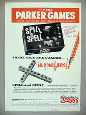 Spill and Spell Dice Game PRINT AD - 1967 ~ Parker Brothers, Bros games