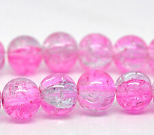 24 Crackle Glass LIGHT PINK and CLEAR Round Glass Beads 8mm bgl0880