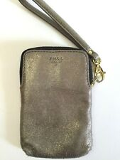"""FOSSIL Vintage Gold Leather Wristlet Wallet 3.75"""" x 5.5"""" Small"""