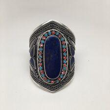 Afghan Turkmen Kuchi Tribal Lapis Lazuli Bib Boho Statement Cuff Bracelet, E374