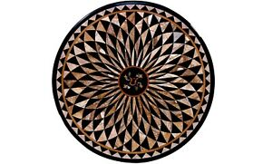 2.5' Round Marble Coffee Table Top Geometrical Inlay Dining Room Decorative B572