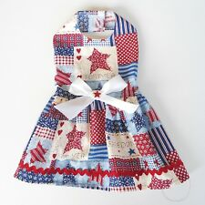 Country USA Patriotic RWB Dog Dress Little Dog Clothes Small Dog Apparel Sz XXS