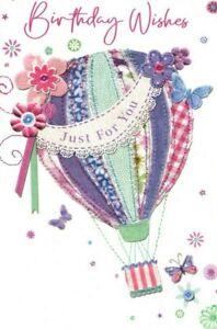Open Female Birthday Card ~ Balloon Surprise By Simon Elvin ~ Free P&P