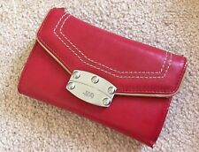 JAG Red Tan PU Leather Purse / Wallet Industrial look Clasp Chunky tri fold