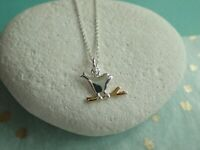 Sterling Silver Bird Perched on Gold Vermeil Branch Pendant Necklace