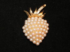 Vintage Signed Pell Faux Pearl Bead Gold Tone Strawberry Pin Brooch Baguette Rhs