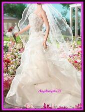 Beautiful Ivory strapless David's wedding dress fits silkstone royalty Barbie