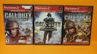 Call of Duty 3 Special, World at War, Finest Hour PS2 PlayStation 2 3 Game Lot
