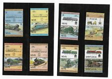 E67] NEVIS and ST LUCIA 8 x 2 different Locomotives pairs unmounted mint