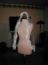 SHORT Vintage White Lace Mantilla Bridal Veil