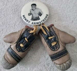Scarce Boxing Henry Armstrong pin with leather boxing gloves souvenior 1950's