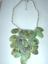 NEXT Mint Turquoise Green Oval Shell Pieces Bib Layer BOHO Folk Surfer Necklace