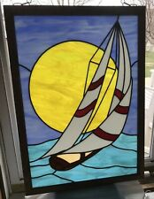Stained Glass, Sailboat In the Sunset.