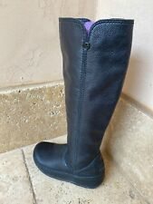 FitFlop Tall Leather Black Knee High Boots Wobble Board Wedge Pull On Women 6