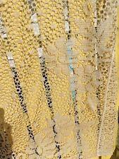 """Vtg Antique Crochet Lace Floral Design Pair of Curtains 73"""" x 33"""""""