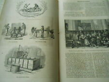 La préparation du Lin en Angleterre 1856 Gravure Print Article