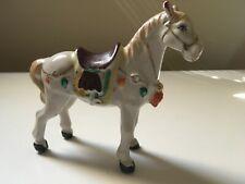 figurine porcelaine cheval ancien polychrome peint main 1900 fine céramique déco