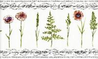 Flower Leaf Garden Black White Scroll Ornate Trim Solid Vinyl Wallpaper Border