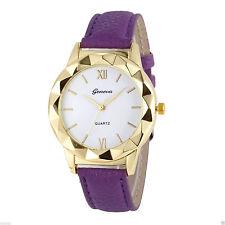 Ladies Fashion Geneva Gold Quartz White Faced Purple Band Wrist Watch. (Aussie)