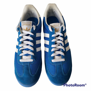 Adidas Mens Shoes Dragon Size11 Blue & White Lace Up Suede White Stripes
