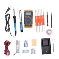 Electric Soldering Iron Kit Desoldering Pump Tweezer Multimeter Welding Tool