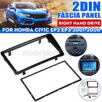 Radio Stereo 2 Din Fascia Facia Panel Plate Black For Honda Civic EP2 EP3 01-06