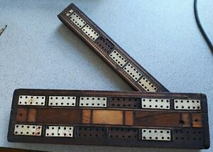 Antique inlaid cribbage board mahogany and bone needs help but usable