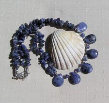 "Blue Sodalite Crystal Gemstone Statement Necklace ""Blue Skies"""