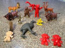 Vintage Miscellanious Molded Plastic Toys Animals Dinosauers Warriors Pygmies