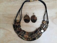 Clay Fired Bronze Copper Black Gold Handmade Necklace & Earring Set Craft