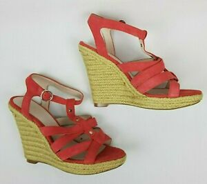 Witchery Womens Shoes Size 10.5, EU41 High Wedge Espadrille Raspberry Suede
