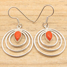 Plated Orange Copper Turquoise Earrings Inexpensive Fashion Jewelry ! 925 Silver