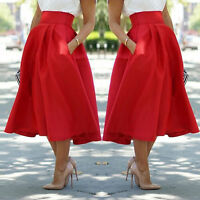 NEW Woman High Waist Stretch Pleated A-Line Long Skirt Casual Dress Red black