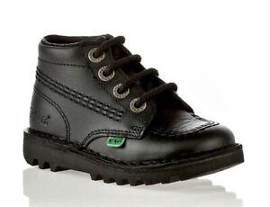 Kids Kickers Kick Hi Black Boots New Infants Leather Shoes Boys Sale Size 9-12.5