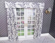 MINIATURE DOLL HOUSE  MINIATURE CURTAINS DRAPES FOR FRENCH DOORS 7 INCHES WIDE