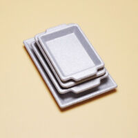 1/12 Scale Dollhouse Miniature Silver Metal Food Drink Serving Trays 4pcs