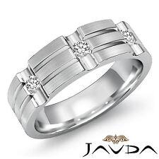 Mens Half Wedding Band 18k White Gold 3 Stone Bezel Diamond 7mm Huge Ring 0.25Ct