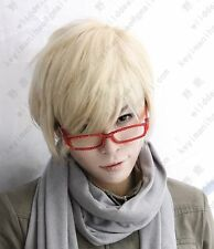 Hot Natural Men Short Light Blonde Straight Hair Youth Boy Daily Party Full Wigs