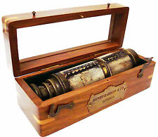 """Brass Ship Telescope Leather Bounded w Wooden Case 16"""" HENRY BARROW & co  London"""