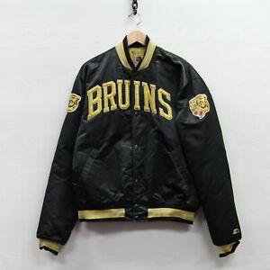 Vintage Boston Bruins Starter Satin Bomber Jacket Size XL 90s NHL Embroidered