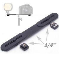 "Dual Flash Bracket Holder + 1/4"" Screw Hot Shoe Adapter for Tripod Light Stand"