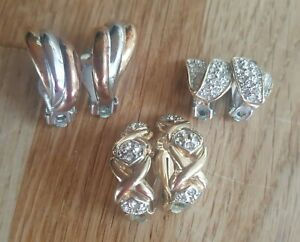 Three Pairs of Faux Diamond Sparkly Costume Jewellery Clip On Earrings